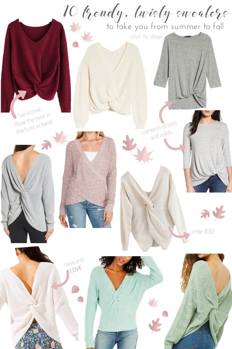 10 Adorable Twist Back Sweaters To Take You From Summer Fall Sweater And Dont Forget Pin These Graphics Your Shopping Pinterest Boards Save Items For Later