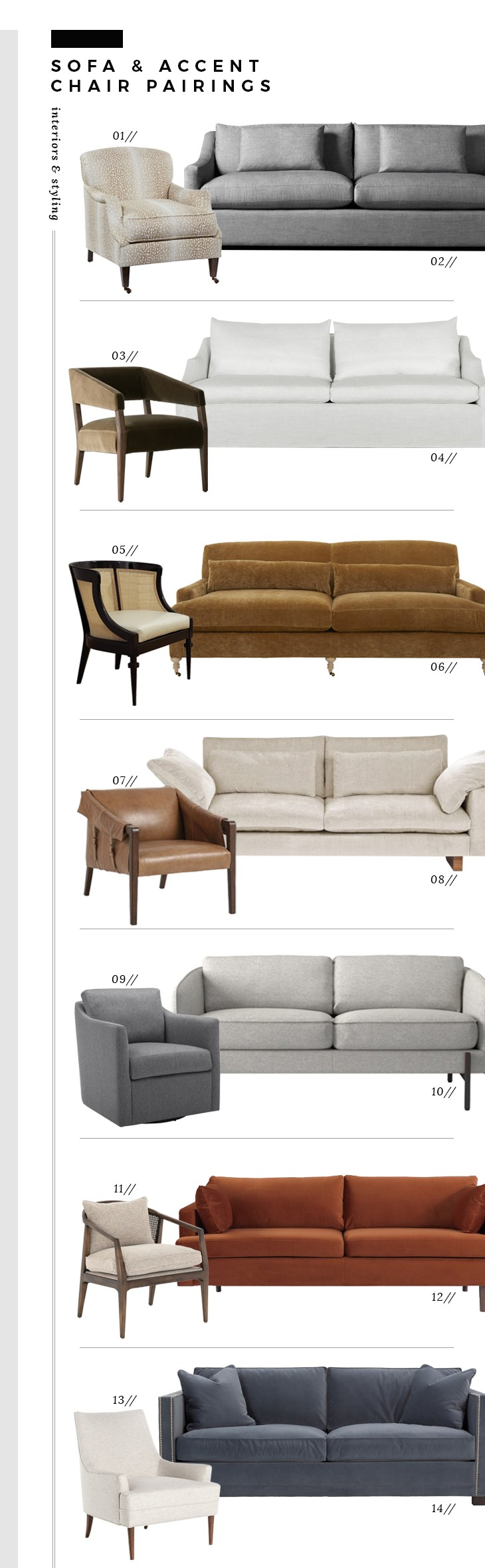 Sofa and Accent Chair Pairings - Room for Tuesday