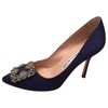 Manolo Blahnik Hangisi Pumps Blue Satin Sex and the City