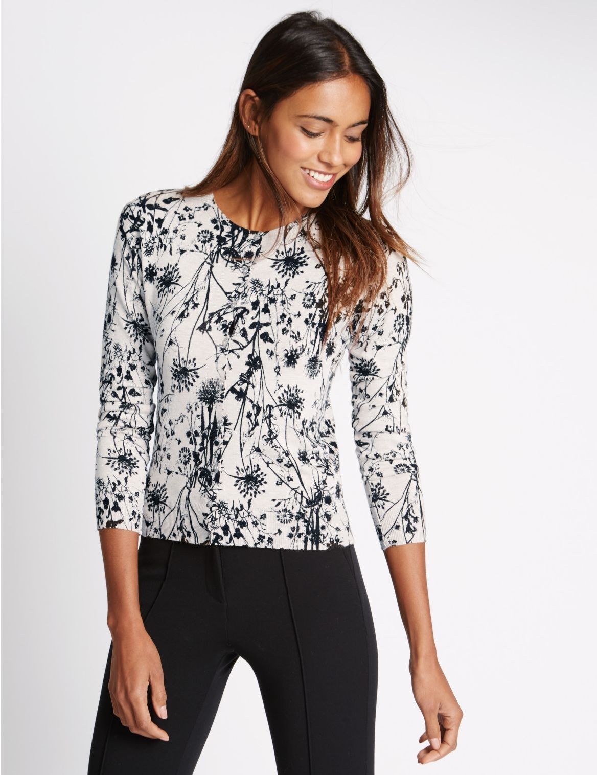 Why Every Girl Needs a Black and White Floral Print Cardigan ...