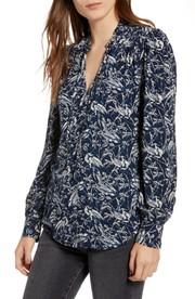 a0f7f4edb3827f Debra Newell's Blue Floral Tie Neck Blouse | Big Blonde Hair