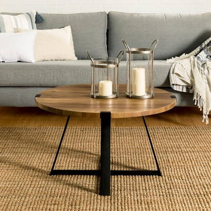 Round Wood And Metal Coffee Tables Green With Decor