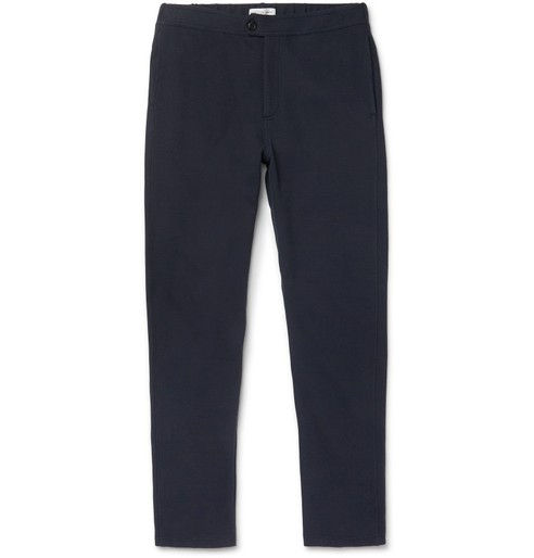 1052796cdd1 NAVY TRAVEL TAPERED COTTON-BLEND TROUSERS