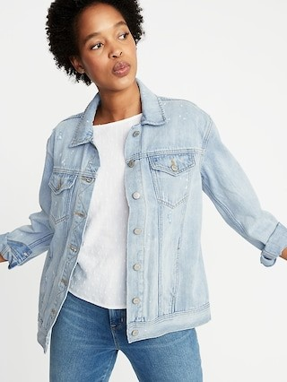 0084c72562241 Old Navy is my favorite retailer for denim jackets! This one is my go-to  whenever I need a casual spring or summer jacket! I get my normal size  small!