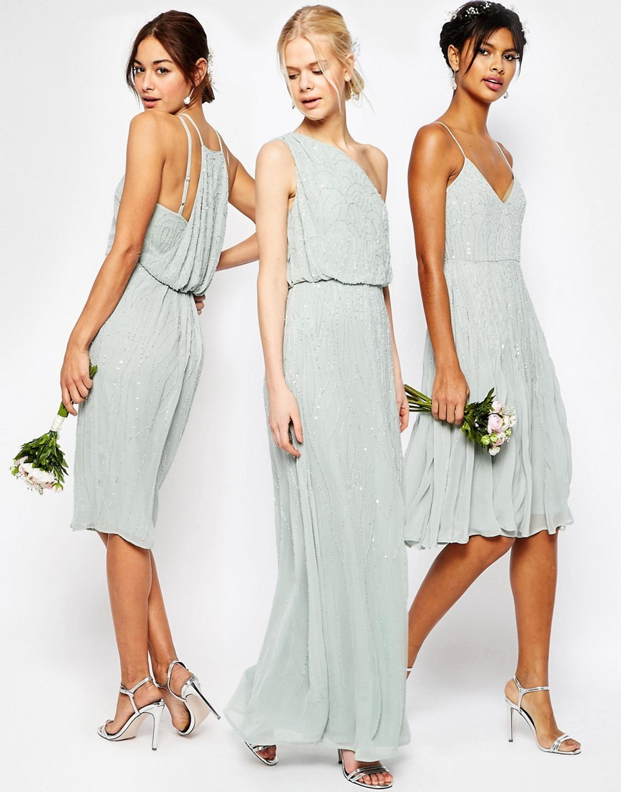 Wedding trends beaded bridesmaid dresses bridalpulse asos ombrellifo Image collections
