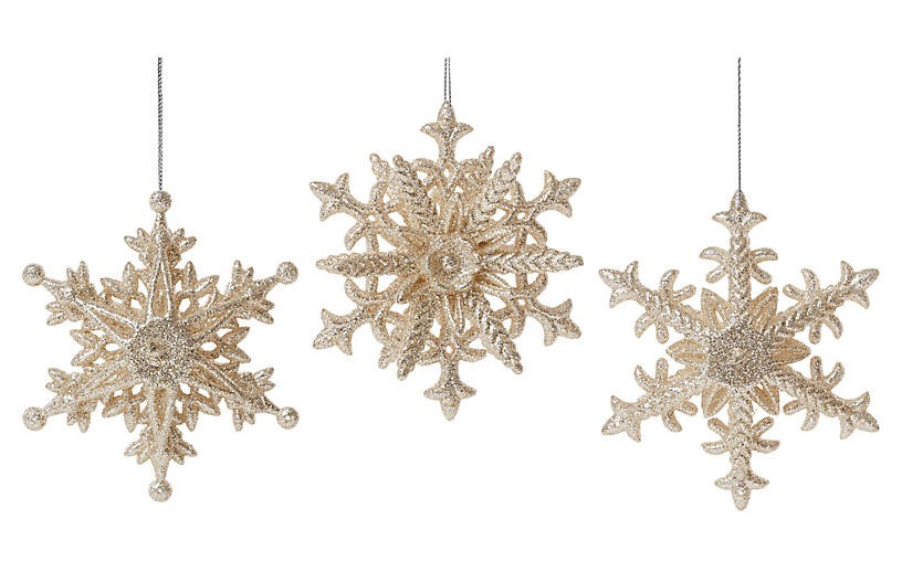 love these shimmering snowflake ornaments on sale - Light Pink Christmas Tree