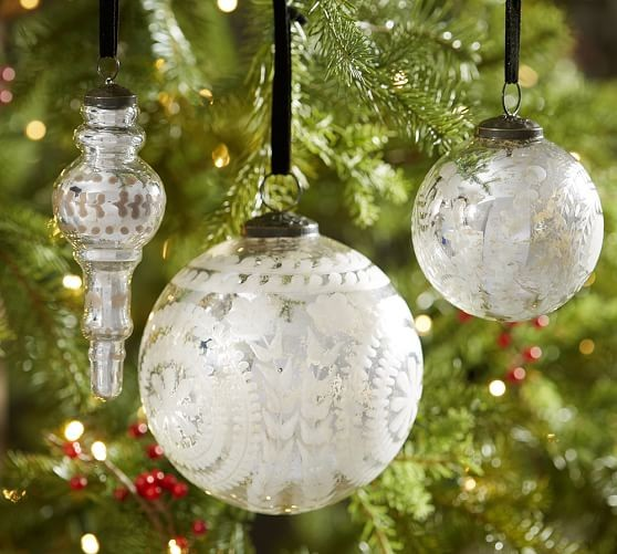 Blue and white christmas tree laurel home beautiful etched mercury glass ornaments in silver from pb gorgeous solutioingenieria Gallery