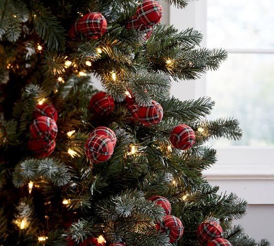 love these plaid ball picks from pb - Christmas Tree Picks