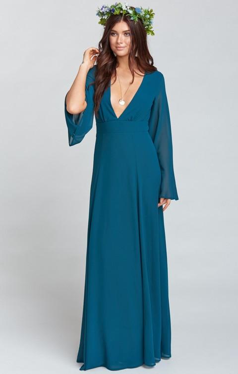 Dark Turquoise Maxi Dress | Snorkel Blue Wedding Style
