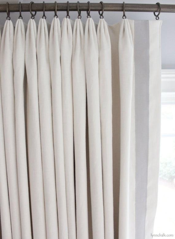Lynn Chalk custom linen drapes with trim.
