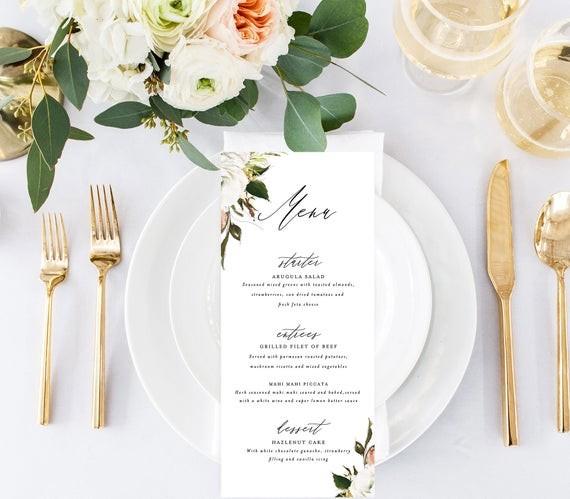 White Floral Wedding Menu Template By Studio Bohemme
