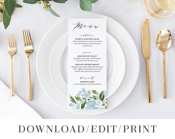 the best etsy wedding menu templates junebug weddings
