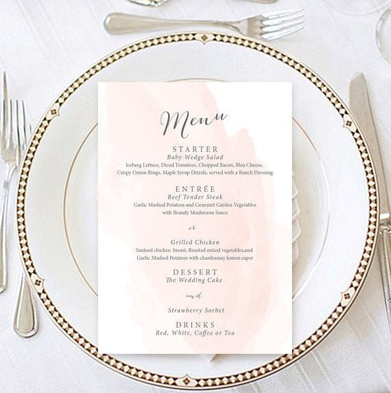 The best etsy wedding menu templates junebug weddings blush watercolor menu template by bright paper maxwellsz