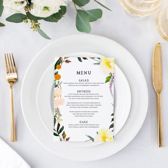 Colorful Watercolor Florals Printable Wedding Menu By Pine Nineteen