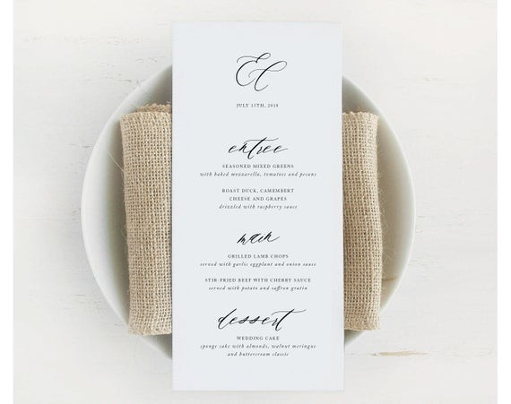 Wedding Menu Template.The Best Etsy Wedding Menu Templates Junebug Weddings