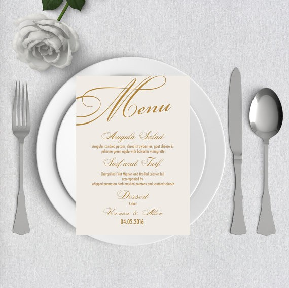 The best etsy wedding menu templates junebug weddings gold elegant wedding menu wedding template by pink poppy weddings junglespirit Images