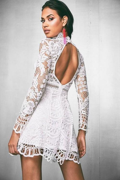 912ac07d728e Λευκά φορέματα με δαντέλα