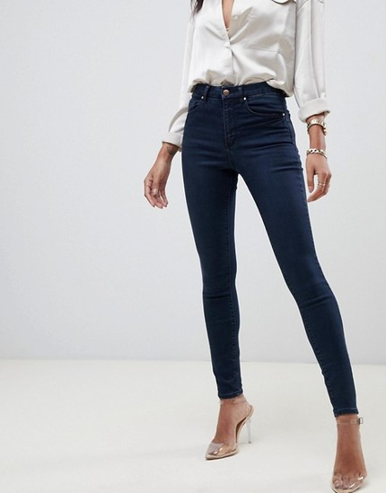 8474c302 *GREAT STAPLE* - ASOS DESIGN 'SCULPT ME' HIGH WAIST PREMIUM JEANS IN DARK  WASH - sizes 24 -36, leg length 30/32/34