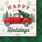 red truck with christmas tree decor