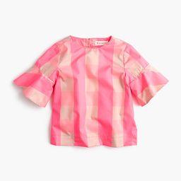 Girls' ruffle-sleeve shirt in neon buffalo check | J.Crew US