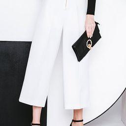 White Simple Grommet Zipper Wide Leg Pants | StyleWe (US)