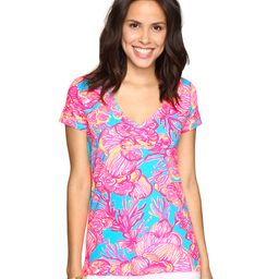 Lilly Pulitzer - Michele Top (Sparkling Blue Fan Tastic) Women's T Shirt   Zappos