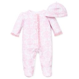Little Me® Preemie 2-Piece Damask Scroll Footie and Hat Set in Pink | buybuy BABY