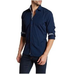 Suslo Couture Men's Classic Fit Navy Cotton Button Down Shirt | Overstock