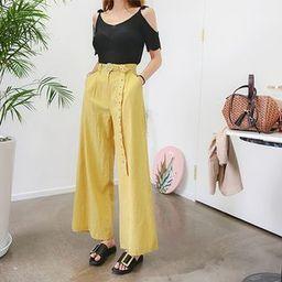 Belted Linen Blend Wide-Leg Pants   YesStyle (US)