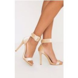 Marelda Nude Velvet Cuff Heels | Pretty Little Thing US