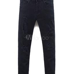 Black Ripped Jeans Men's Straight Skinny Denim Jeans | Milanoo