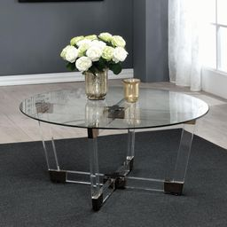 Coaster Furniture Round Glass Top Coffee Table with Clear Base | Hayneedle