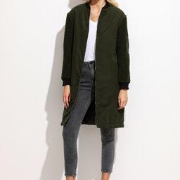 Olive Green Fleece Sleeve Suede Bomber Coat | SHEIN