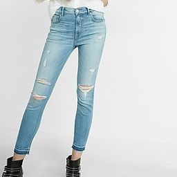 Express Womens High Waisted Distressed Stretch+ Performance Cropped Jean Leggings Blue 00 | Express