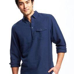 Old Navy Regular Fit Classic Linen Blend Popover Shirt For Men Size M Tall - Navy blue | Old Navy US