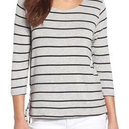 Petite Women's Bobeau Stripe Side Tie Tee, Size Large P - Grey | Nordstrom