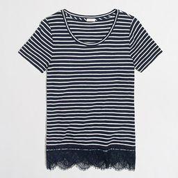 Striped lace-hem T-shirt   J.Crew Factory