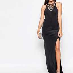Rare Maxi Dress With Side Split And Embellished Neckline - Black | Asos AU