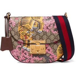 Gucci - Padlock Medium Coated-canvas And Textured-leather Shoulder Bag - Beige | Net-a-Porter (Global excpt. US)