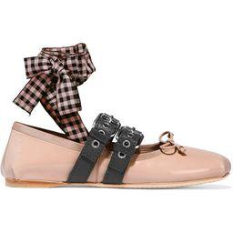 Miu Miu - Lace-up Patent-leather Ballet Flats - Blush   Net-a-Porter (UK & EU)