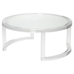 Ava Modern Round Clear Glass Acrylic Coffee Table | Kathy Kuo Home