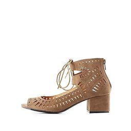 Laser Cut Lace-Up Sandals | Charlotte Russe