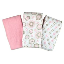 SwaddleMe® 3-Pack Floral Medallion Muslin Swaddle Blankets in Pink | buybuy BABY