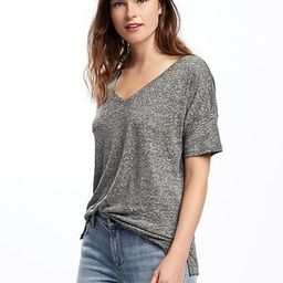 Old Navy Linen Blend Boyfriend Tee For Women Size L Tall - Dark charcoal gray | Old Navy US