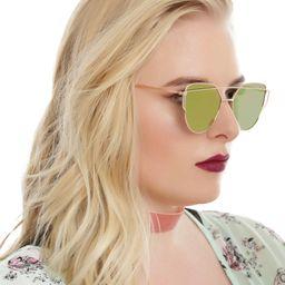 Gold Top Bridge Pink Mirror Lens Sunglasses   Hot Topic