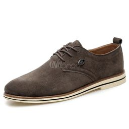 Men's Brown Shoes Suede Casual Shoes Lace Up PU Leather Flats | Milanoo