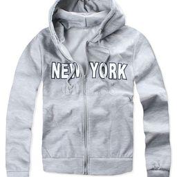 Men's Grey Hoodie Zip Up Letter Long Sleeve Hooded Sweatshirt | Milanoo