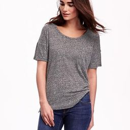 Old Navy Boyfriend Linen Blend Tee For Women Size L Tall - Dark charcoal gray | Old Navy US