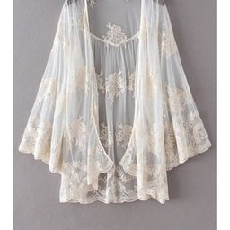 Flare Sleeve Lace Embroidery See Through Cape Blouse   ZAFUL (Global)