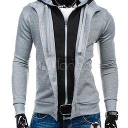 Black/grey Hoodie Men's Contrast Color Fake 2-piece Cotton Pullover Hoodie | Milanoo